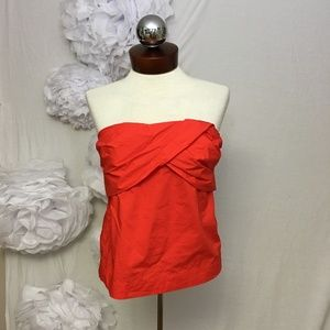 J. Crew Tops - J.Crew Red Strapless Cross-front Top tube top 4